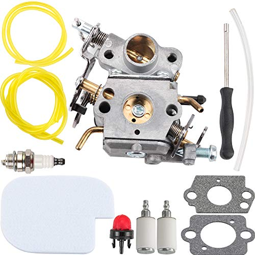 (Kizut 545070601 C1M-W26C Carburetor for Poulan P3314 P3816 P3416 P4018 PP3416 PP3516 PP3816 PP4218 PPB3416 S1970 Chainsaw Parts Zama C1M-W26 Carb Air Filter Adjustment Tool Tune Up Kit)