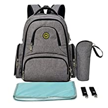 Lightweight 16 Pockets Water-resistant Backpack Diaper Bag with Insulated Bottle Pockets and Changing Mat Heather Grey
