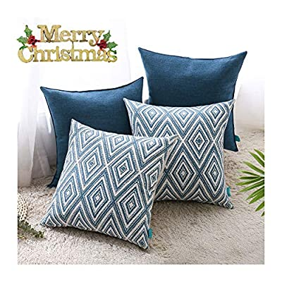 """hpuk Plaid Polyester Decorative Pillow Covers Throw Pillows Covers Couch Pillowcase Cushion Cover Couch, 17X17"""" with 4 PCS, Navy Blue"""