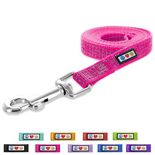 Pawtitas Pet / Puppy 6 - feet Reflective Dog Leash Extra Small / Small 5/8 inch Pink Matching Collar and Harness sold separately.