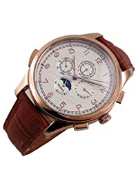 Carlien Rose Golden Case White Dial Moon Phase Automatic Mechanical Mens Wrist Watches