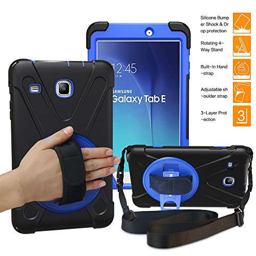 BRAECNstock Samsung Galaxy Tab E 8.0 Case 3in1 Full-Body Shock Proof Hybrid Heavy Duty Armor Defender Protective Case Silicone Skin Hard Plastic Case for SM-T375 T377 T377V Hand Strap ()