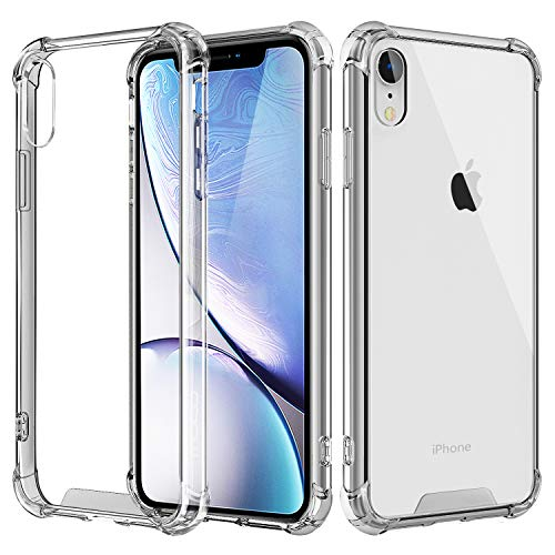 MoKo Cover Compatible for iPhone XR Case, Crystal Clear Reinforced Corners TPU Bumper Cushion + Anti-Scratch Hybrid Rugged Transparent Panel Cover Fit with Apple iPhone XR 6.1