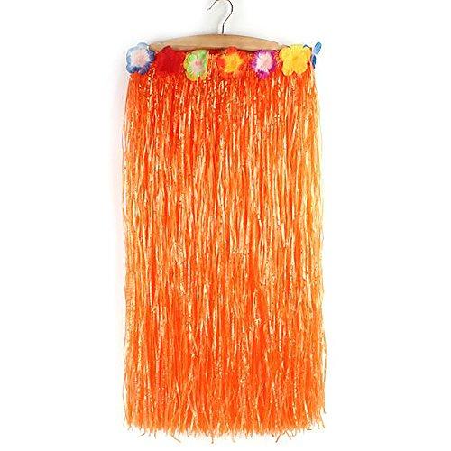 Skirt Halloween Hula (Hawaiian Grass Hula Dancer Skirt Luau Party Costume Events Elastic Waist - Long-Orange)