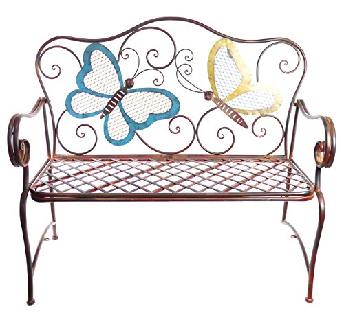 Alpine Metal Colored Butterflies Garden Bench
