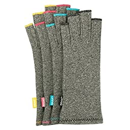 IMAK Compression Gloves (Medium, Gray with Sapphire Stitching)