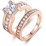 Barzel Rose Gold Plated Cubic Zirconia Engagement Ring Set (5)