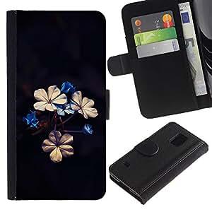 [Neutron-Star] Modelo colorido cuero de la carpeta del tirón del caso cubierta piel Holster Funda protecció Para Samsung Galaxy S5 V SM-G900 [Beautiful Flowers]