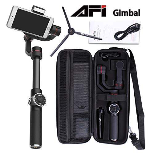 (TJ AFI V5 3axis Gimbal Stabilizer w/Focus Pull & Zoom, Face Tracking, 180° LED Fill Light, Horizontal and Vertical Shooting for Under 6 Inches Smartphones and Cameras GoPro Hero 3/3+/4/5)