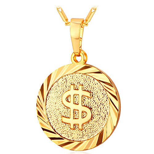 U7 Jewelry Chain & 18K Gold Plated Round Medal Pendant Dollar Sign Necklace
