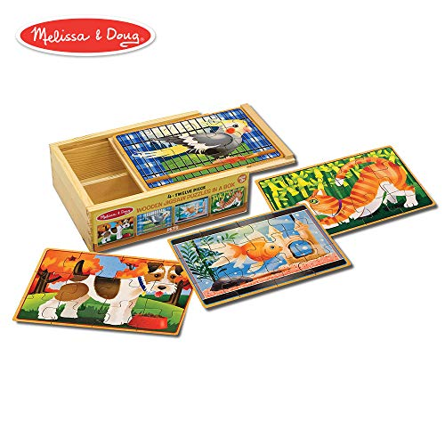 Melissa & Doug Pets Jigsaw Puzzles in a Box (Four Wooden Puzzles, Sturdy Wooden Storage Box, 12-Piece Puzzles, 8