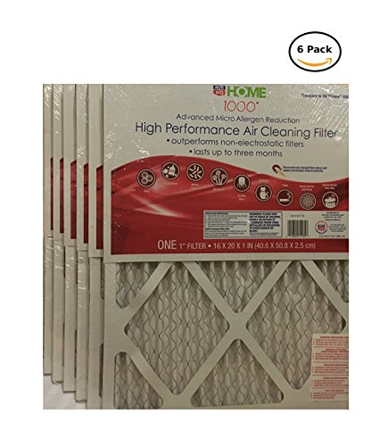High Performance Micro Allergen Defense Air Filter, MPR 1000, 16 x 20 x 1-Inches, 6-Pack