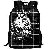 OIlXKV The Skeleton King Print Custom Casual School Bag Backpack Multipurpose Travel Daypack For Adult