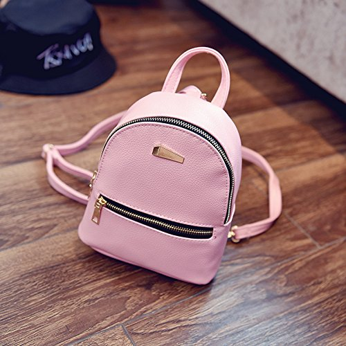 ShiningLove Cute Concise PU Leather Travel Backpack For Teenagers Girls Candy Color Shoulder Bag Casual Daypack Black by ShiningLove (Image #4)