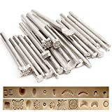 Techson 20PCS Leather Stamping Tools, Different Shape Saddle Making Stamp Punch Set, Manual Carved Embossing Hammer Kit
