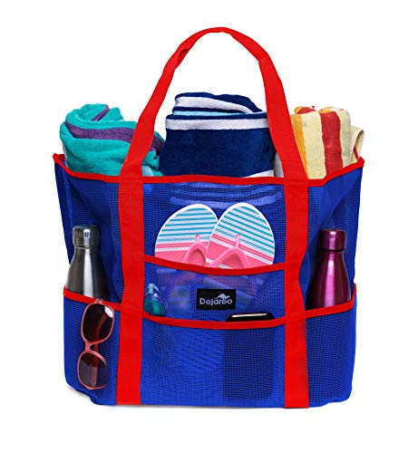Dejaroo Mesh Beach Bag - Toy Tote Bag - Large Lightweight Market, Grocery & Picnic Tote with Oversized Pockets (Blue with Red Handles) ()
