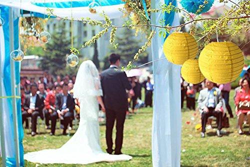 Lampadario Di Carta Velina : Sonnis lanterna gialla rotonda di carta velina decorazione da