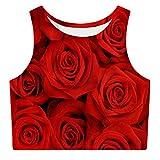 RAISEVERN Women's Crop Top Summer 3D Print Graphic Sleevelees Shirts