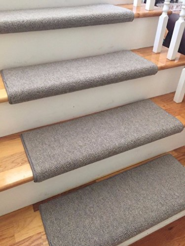 """True Bullnose (31"""" Wide, Granite)(Sold Each) Richmond Ecco Tex Authentic New Zealand Wool Blend Handmade Padded Carpet Stair Tread Runner Replacement for Dog, Cat, Pet, Style, Comfort, Safety"""