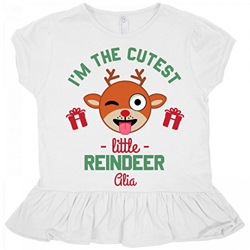 Alia Cutest Christmas Reindeer: Toddler Rabbit Skins Ruffle Fine Jersey (Alias Cap)