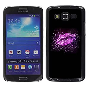 iKiki Tech / Estuche rígido - Lips Stars Glitter Bright Black Love - Samsung Galaxy Grand 2 SM-G7102 SM-G7105
