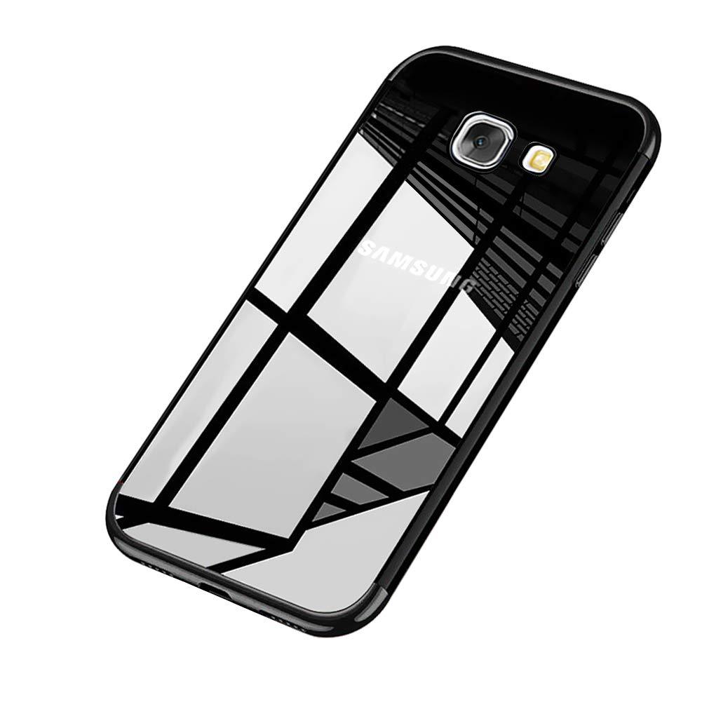 Surakey Cover Samsung Galaxy J7 Prime, Ultra Trasparente HD Crystal Clear Silicone Cover Bordo Placcatura Colorata Soft Touch Protettiva Skin Ultra Sottile Morbida Custodia per Galaxy J7 Prime,Argento SUR07257