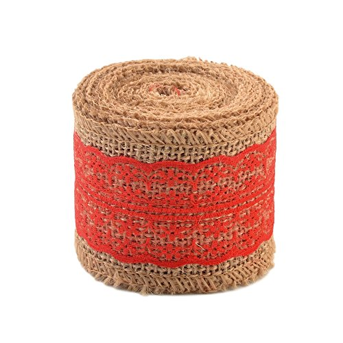 eZthings Decorative Designer Fabric Ribbons for Home Craft Projects and Gift Baskets (3 Yard, Red(2.4