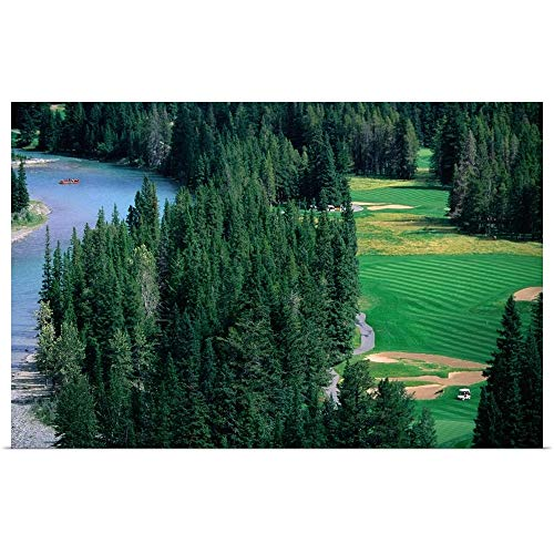 GREATBIGCANVAS Poster Print Entitled Golf Course and White Water Rafting Course from Banff Springs Hotel, Canada by -