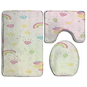 Happy Christmas Bathroom Accessories Bath Rug Sets 3 Piece Bathroom Non-Slip Floor Mats Unicorn Style Pedestal Rug + Lid Toilet Cover + Bath Mat For Children Womens