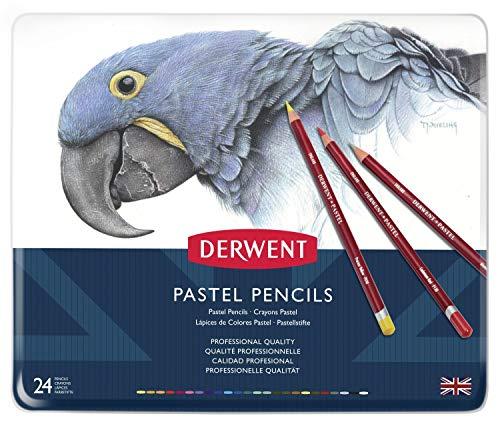 24 Pastel Pencils - Derwent Pastel Pencils, 4mm Core, Metal Tin, 24 Count (32992)