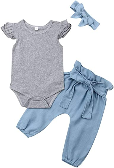 Bow Headband Outfits Set Denim Pants Baby Girls Clothes Ruffle Long Sleeve Tops