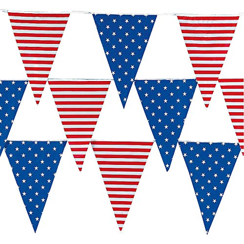 Stripes Banner And Stars - Fun Express - Stars & Stripes Pennant Banner (100ft) for Fourth of July - Party Decor - Hanging Decor - Pennants - Fourth of July - 1 Piece