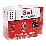 Acco binder clips multipack 3 in 1 228count 24 medium 108 small 96 mini