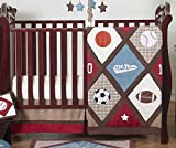 All Star Sports Red, Blue and Brown Baby Boy Bedding 4 Piece Crib Set Without Bumper