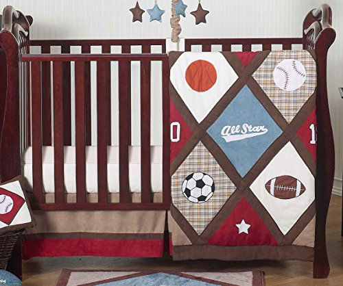 All Star Sports Red, Blue and Brown Baby Boy Bedding 4 Piece Crib Set Without (All Star Crib Bedding)