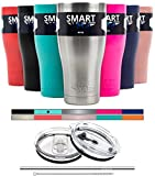 : Tumbler 30 Oz Color - Smart Coolers - Ultra-Tough Double Wall Stainless Steel Tumbler Cup - Premium Insulated Mug - Keep Coffee and Ice Tea - Powder Coated - 2 Lids + Straw + Gift Box - Teal