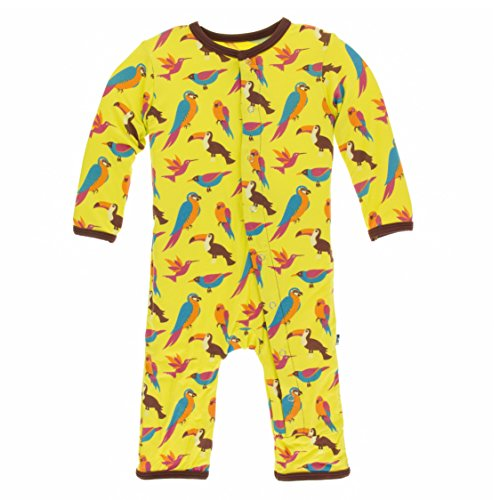 (Kickee Pants Little Girls Print Coverall with Snaps - Banana Tropical Birds, 3-6 Months )
