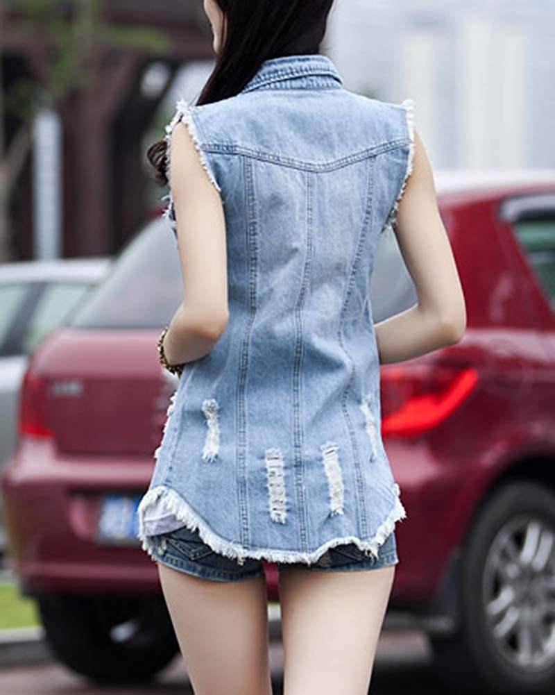 PengGengA Donna Lungo Gilet in Jeans Risvolto Senza Maniche Denim Giacca Slim Fit Cardigan Cappotto