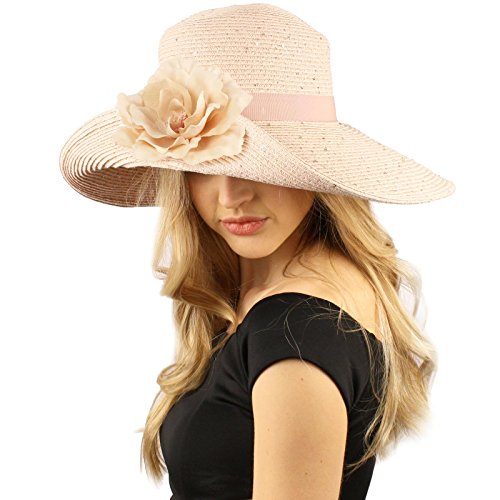 Dressy Flip Up Sequins Removable Flower Brooch Floppy Summer Derby Sun Hat Pink ()