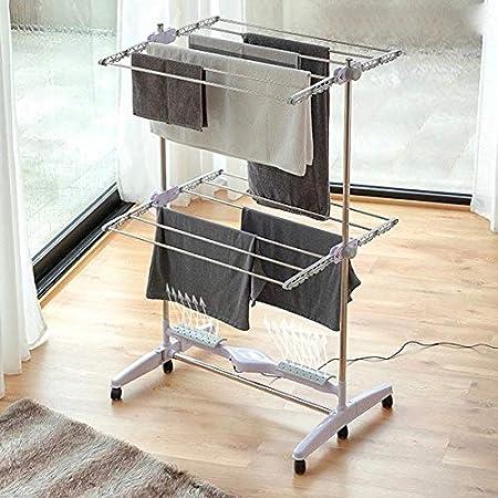 MODEZVOUS 2 Etages 12 Barres Etendoir pour Linge Faible consommation 24 Watts S/échoir Electrique Pliable avec Flux dair Pliable Aluminium