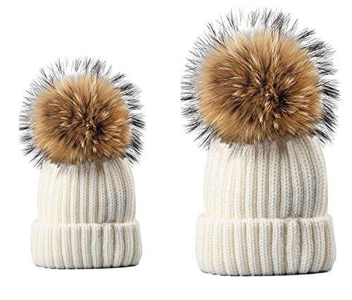 e00cf59d9b1 LOKIDVE 2PCS Parent-Child Fur Pompom Knit Hat Mom Baby Winter Warm Beanie  Cap-