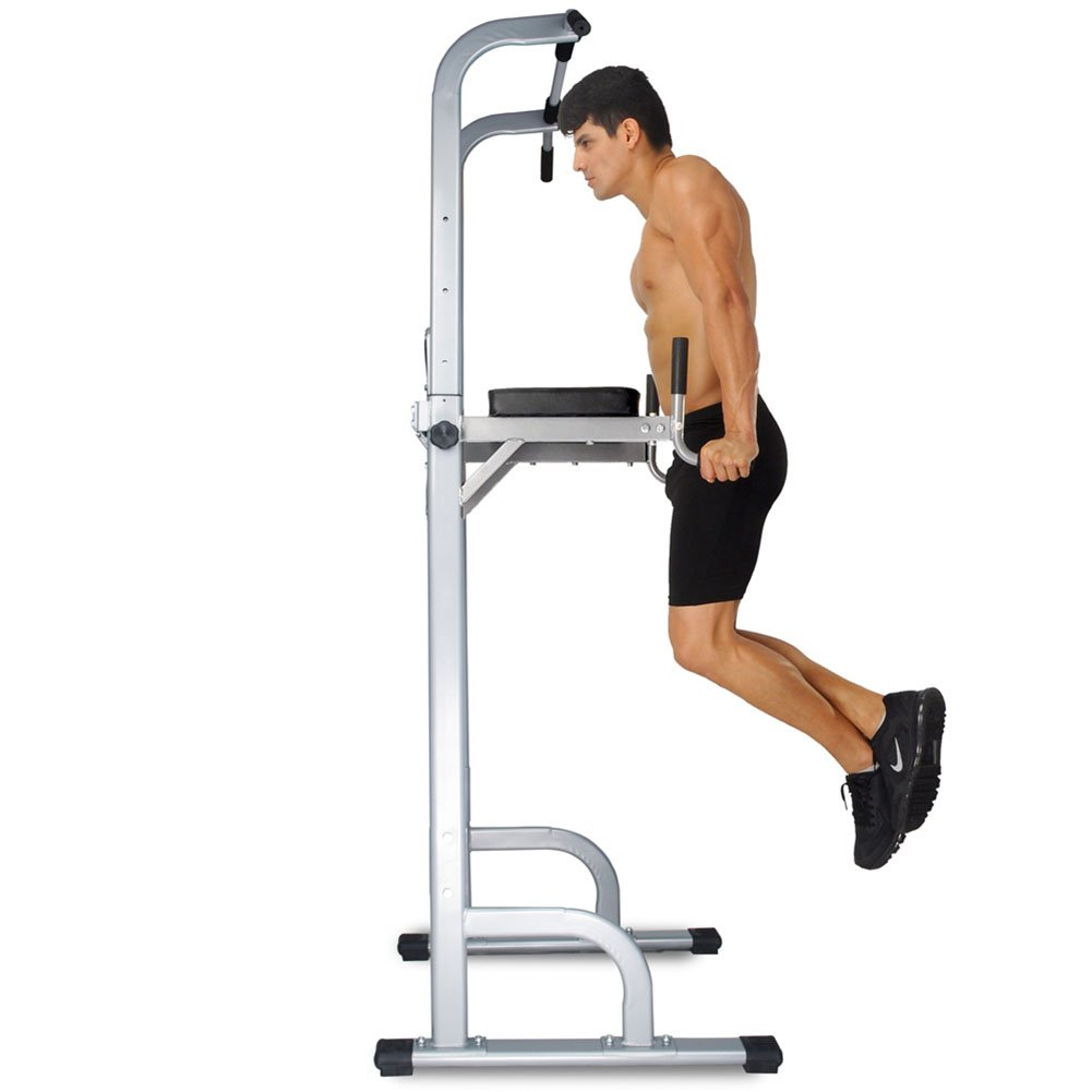 Vertical Knee Raise Dip Station Power Tower - Full Body Strength Pull Up, Body Weight Dip, Triceps Push Up, Hanging Knee Raise - Adjustable Height Sturdy Frame Non Slip End Caps - US Stock via Fedex by CRYSTAL FIT