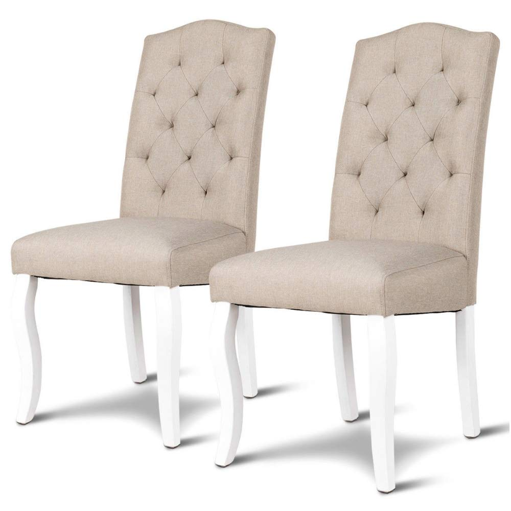 Amazon.com - Upholstered Dining Chairs Beige Set of 2 Fabric ...