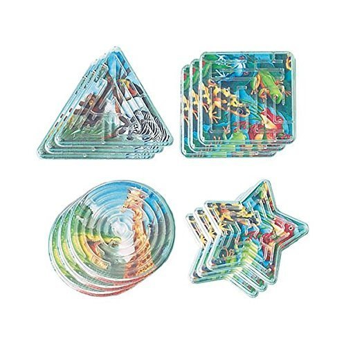 Fun-Filled Mini Rainforest Friends Maze Puzzle Party Favours, Plastic, 2
