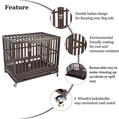 Haige Pet Your Pet Nanny 42'' Heavy Duty Dog Crate Cage Kennel and Playpen Steel Strong Metal for Medium and Large Dogs with Patent Lock and Four Lockable Wheels, Black by Haige Pet Your Pet Nanny (Image #3)