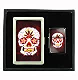 Day of the Dead Sugar Skull P()t Leaf Cigarette Case and Flip Top Oil Lighter Set Smoking Mexican Calavera