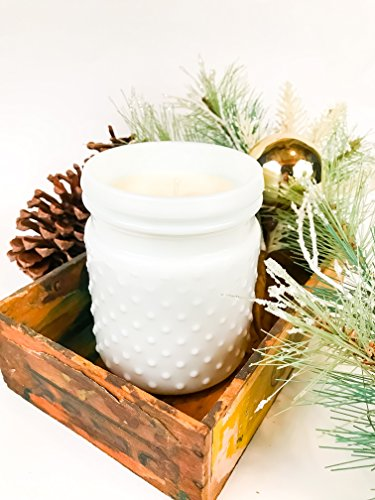 Christmas Hearth Milk Glass Hobnail Soy Candle