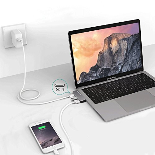 USB Type-C HUB Adapter - Aluminum Pass Through Charging Type-c Hub with 40Gbs Thunderbolt 3, USB 3.0 Port, USB 2.0 Port for New 13'' or 15'' MacBook Pro 2016 and 2017 by OneOdio FREEGENE (Space Grey) by OneOdio (Image #4)