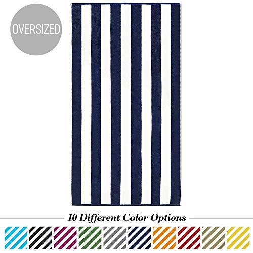 (Caravalli Egyptian Cotton Beach Towel, Windsor Oversized Luxury Resort Towel with Large Stripes, Over Sized Super Soft Ulta Absorbent Striped Spa Towels, Thick Cabana Stripe Bath Towel (Navy))
