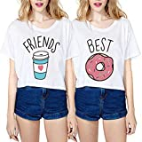 JINT Best Friends Tshirt 2-Pack Women Donut and Coffee BFF Matching Cute Shirt Cartoon Tops Funny Tees by (Best-S+Friends-S)